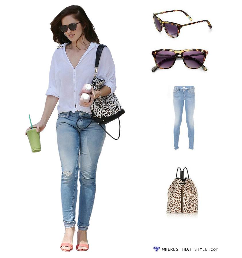 Minka kelly wearing elizabeth and james talbert polarized sunglasses