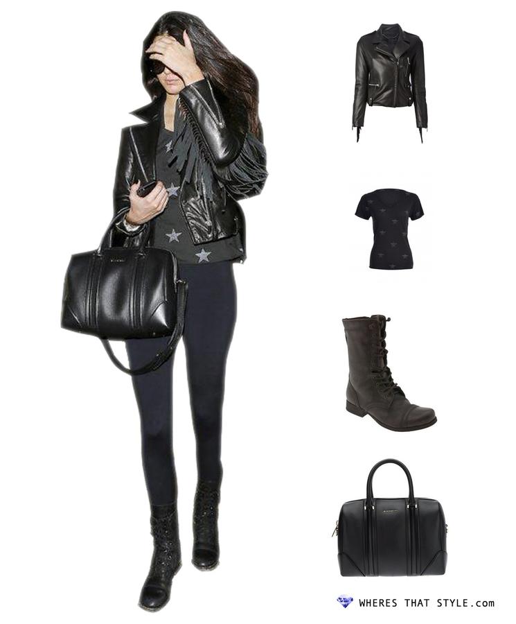 Kendall jenner wearing barbara bui fringe leather jacket