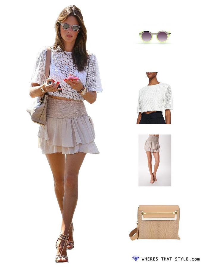 Alessandra ambrosio wearing quay eyeware oh mi sunglasses neon green