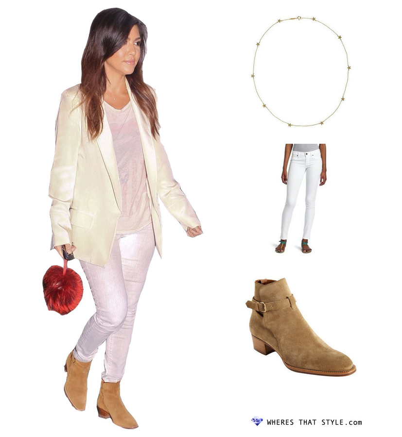 Kourtney kardashian wearing rich skinny legacy skinny jeans in aged white