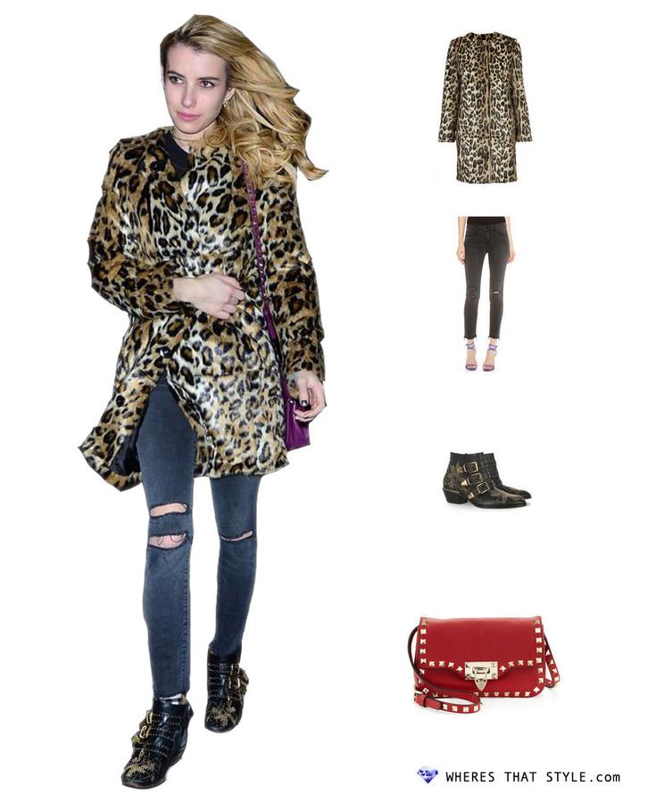 Emma roberts wearing topshop faux fur animal print coat