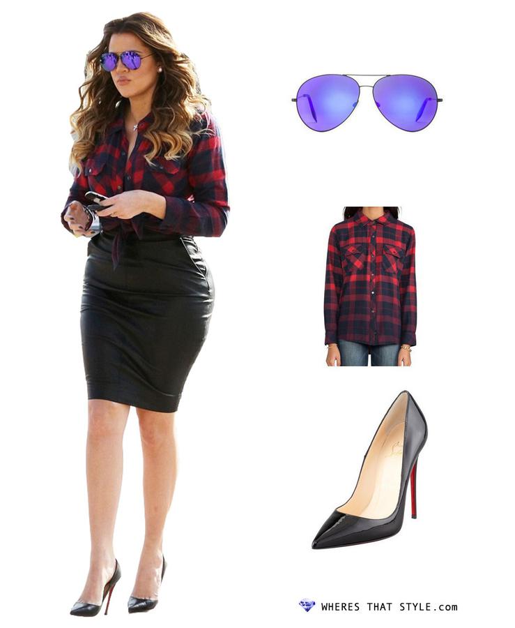 Khloe kardashian wearing victoria beckham classic aviator sunglasses