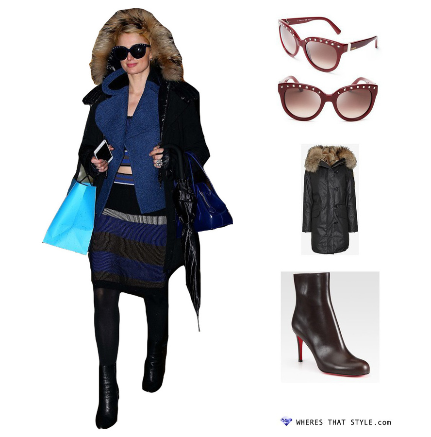 Paris hilton wearing valentino rockstud oversized sunglasses
