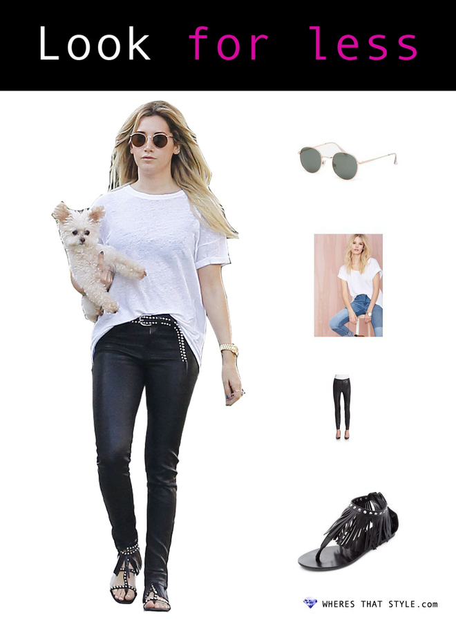 Ashley tisdale wearing with love from ca lennon round sunglasses