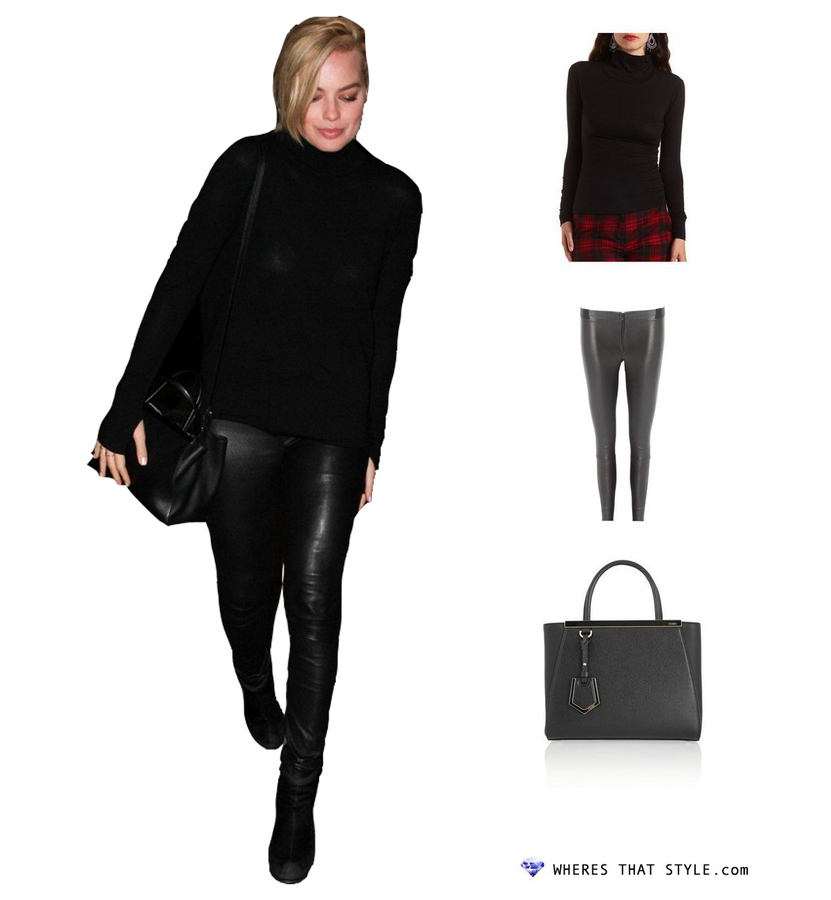 Margot robbie wearing charlotte russe long sleeve turtleneck top