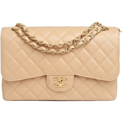 Chanel beige quilted caviar jumbo 2