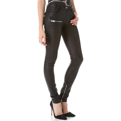 Anine bing stretch leather skinny pants   black