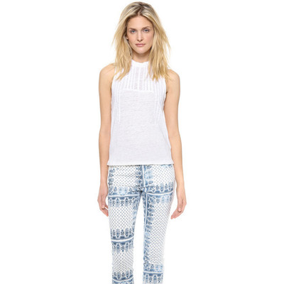 Joe's jeans embroidered linen kate tank   white