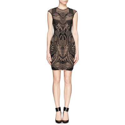Rvn black armor 3d jacquard bodycon dress