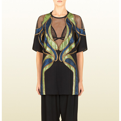 Gucci black silk embroidered oversize top