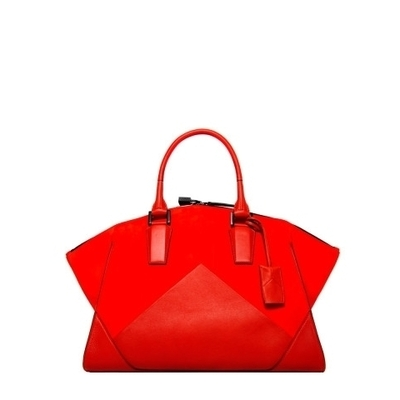 Narciso rodriguez claire zip tote in cayenne orange suede