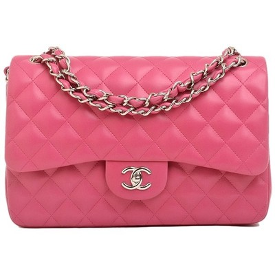 Chanel fuchsia pink quilted jumbo classic 2.55 double flap bag %7c madis...