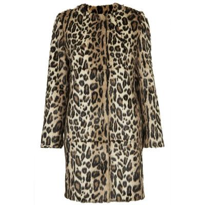 Topshop **faux fur animal print coat