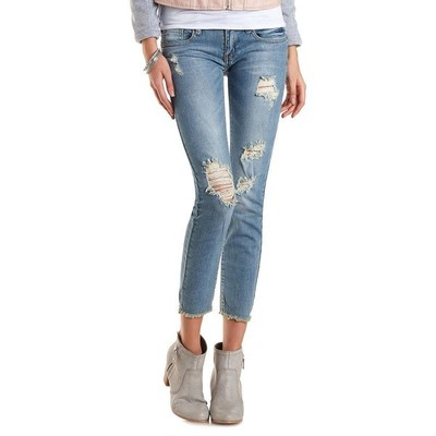 Charlotte russe cropped destroyed skinny jeans