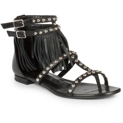 Saint laurent studded leather fringe trimmed sandals