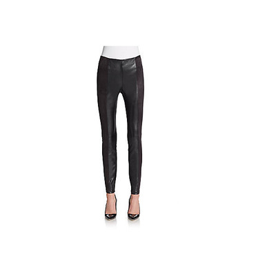 Saks fifth avenue black faux suede leather paneled leggings