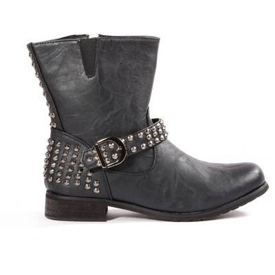 Carrini franca faux leather motorcycle booties
