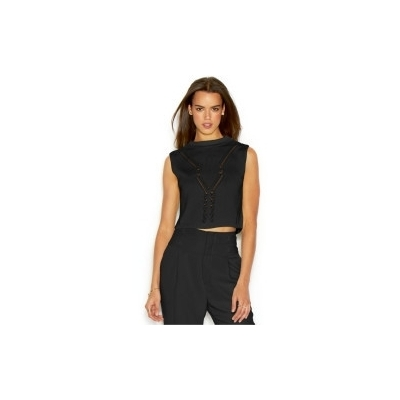Rachel roy sleeveless mock turtleneck knit cropped top