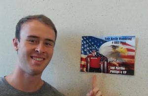 Presidential Candidate Kevin Woodring stands by his patriotic campaign flyer.