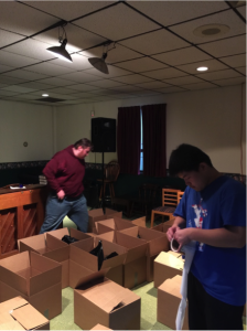 Over 100 boxes were sent out to parishes and homes in the surrounding area to help families in need this holiday season. (Photo by: Ryan Goodwin)