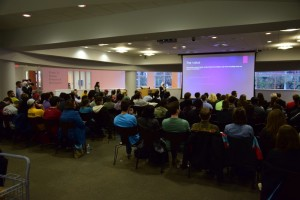 """The Fox School's """"Shark Tank"""" event was packed with students and faculty eager to hear the pitches the entrepreneurs brought into the """"tank"""" with them. (Photo by: Eric White)"""