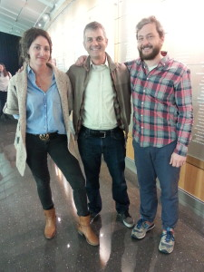 Director/Producer Ben Kalina (center) with Director of Photography Jennifer Schneider and Editor Marc D'Agostino at the screening of Shored Up. The film was shown as part of the Diamond Screen Film Series held in the Temple Performing Arts Center. (Photo by: Greg Van Buskirk)
