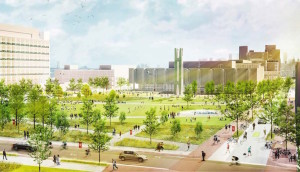 """The New Green"" is the planned quad at Temple University that will come as a result of the Verdant Temple project. (Photo Credit: Philadelphia Magazine and LRSLA Studio, Inc.)"