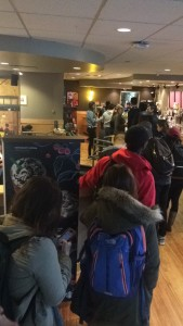 line at Starbucks