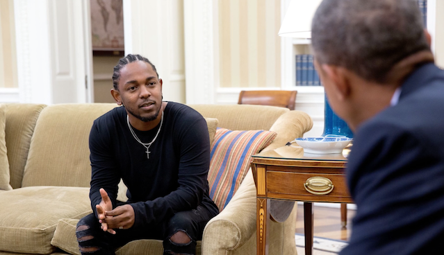 Artist Kendrick Lamar chats with President Barack Obama following a year of success in the Hip Hop world. (Photo courtesy of The Source)