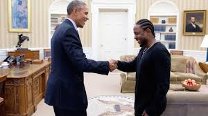 The president met with the Hip Hop artist and congratulated him on his 11 Grammy nominations, an amount second to that of the King of Pop. (Photo courtesy of Black Youth Project)