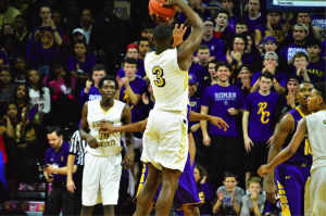 Neumann's Zane Martin with the jumper. (Photo by: Anthony Simuro)