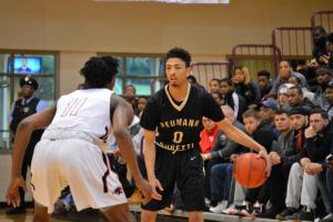 Neumann's Vaughn Covington sets up the offense. (Photo credit: Anthony Simuro)