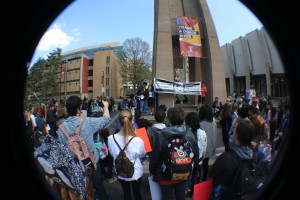 The protest began at the Bell Tower where multiple speakers, including students, North Philly residents and former professors, addressed a variety of issues prior to heading down Broad Street. (Photo by: Siena Sohn)