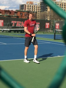 Men's tennis earned their 5-2 win against Duquesne. (Photo by: Jimmy Williamson)