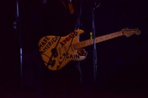"Taylor Rice's ""Make America Afraid Again"" guitar. (Photo: Emily Tobin)"