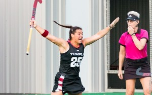 Sarah Keer celebrates a goal in Temple's win against Quinnipiac on Friday (Photo: Owlsports.com)