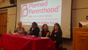Various Planned Parenthood representatives came to Temple University to promote both women's reproductive healthcare and Hillary Clinton's presidential campaign (Photo: Taylor Allen)