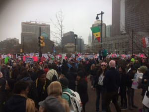Protesters prepare for the Women's March from Logan's Square to the Ben Franklin Parkway minutes before it officially begins. (Photo: Taylor Allen)