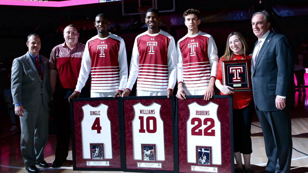 Temple honored three outgoing seniors before beating Tulane on Saturday. (Photo: Owlsports.com)