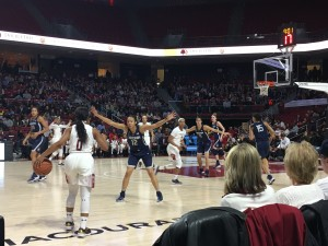 Temple fought hard in the second half, but it wasn't enough to overcome UConn's dominant first half. (Photo: Melissa Payavis)