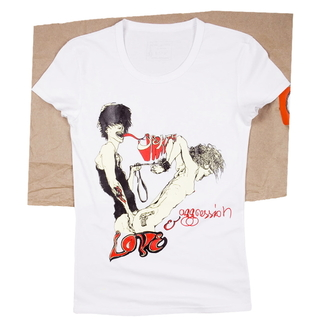 Love-and-agression-white-t-shirt-female