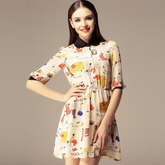 2013-new-fashion-spring-and-summer-puff-sleeve-print-peter-pan-collar-shirt-one-piece-dress