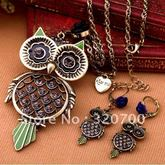 Mixed-lot-vintage-rero-owl-pendant-sweater-necklace-for-women-wholesale-retail-free-shipping-owlxlms027