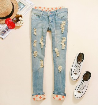 Free-shipping-classical-vintage-detailed-woman-side-bow-cutout-ripped-denim-sexy-jeans-jeggings-trousers