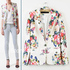 Free-shipping-new-chic-women-s-long-sleeve-one-button-floral-prints-jacket-coat-ladies-blazer