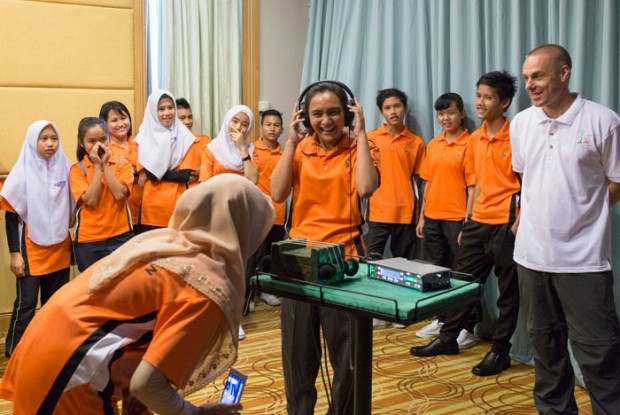 Students testing out the recording equipment in Sibu