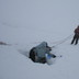 Lowering Genevieve on a ski belay