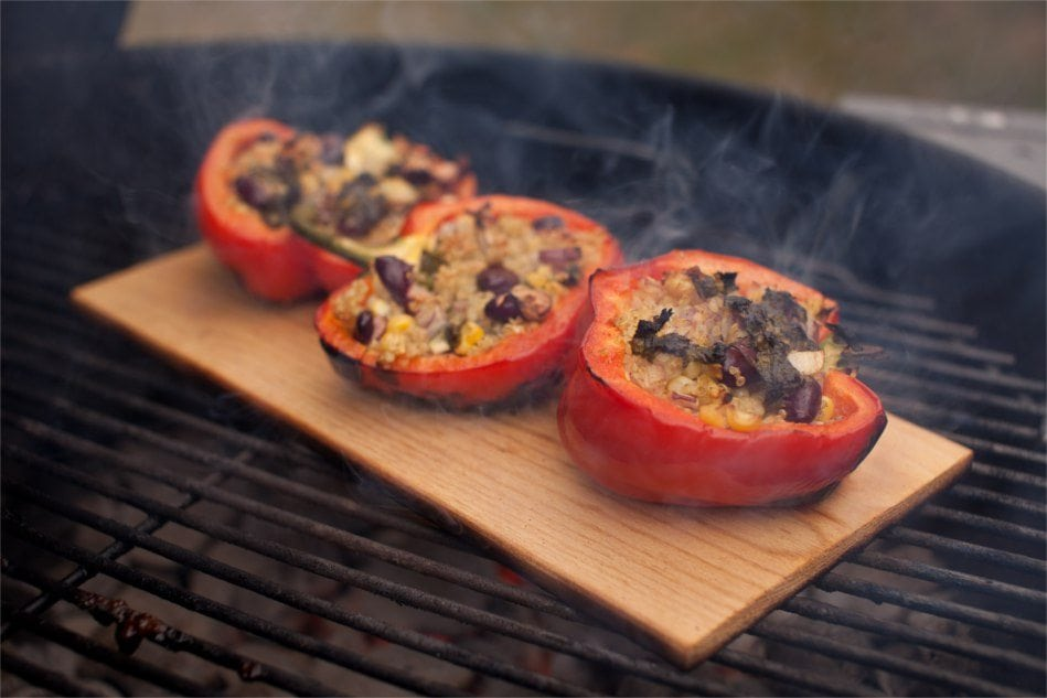 Hickory Planked Stuffed Bell Peppers Recipe