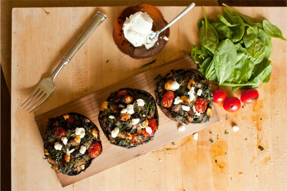 Cedar Planked Stuffed Portobello Mushrooms Recipe
