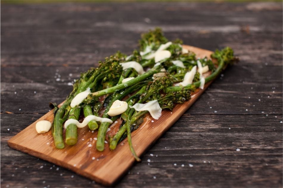 Cedar Planked Garlic Broccolini Recipe